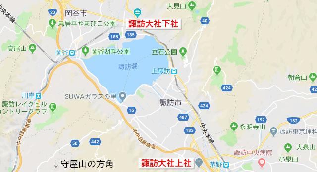 諏訪大社上社・下社マップ
