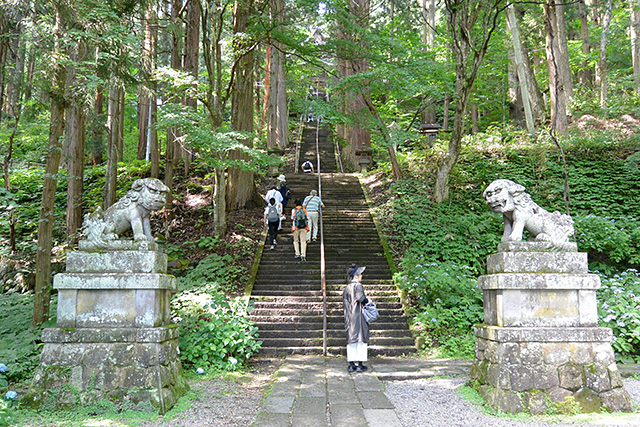 宝光社の狛犬と石段