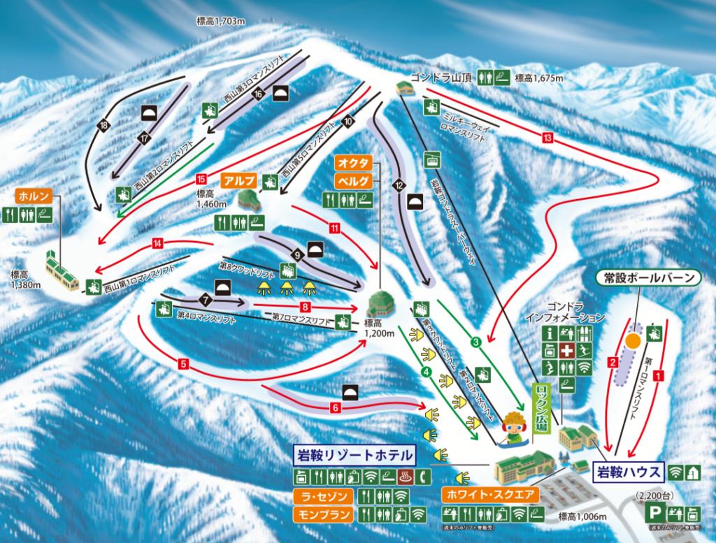 ホワイトワールド尾瀬岩鞍スキー場のゲレンデマップ