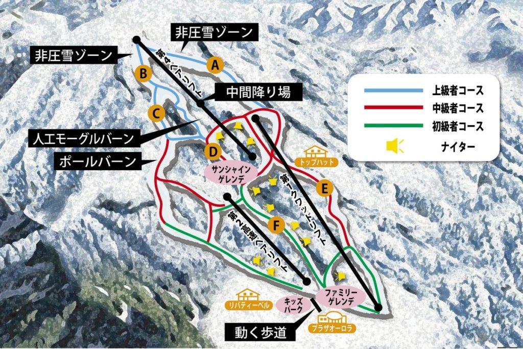 いいづなリゾートスキー場のゲレンデマップ